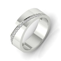 Women's Diamond Engagement Band 6 MM 14k Solid White Gold D/VVS1 Round Cut - $490.38