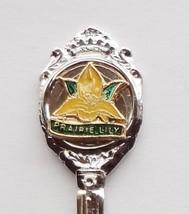 Collector Souvenir Spoon Prairie Lily Flower Floral Cloisonne Emblem - $4.99