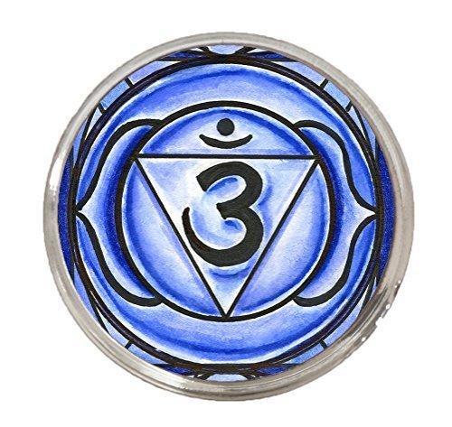 """6th Chakra Ajna 3rd Eye 1"""" Circle Silver Adjustable Ring"""