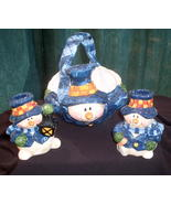 Snowman Holiday Basket Bowl and Candlesticks Ce... - $17.99