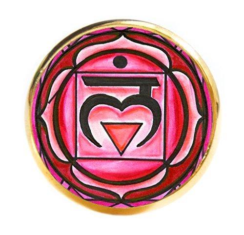 """1st Chakra Muladhara Love Root 1"""" Circle Gold Adjustable Ring"""