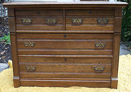 "Antique Oak Chest of Drawers, 4 drawer, 42"" X 20"" X 32"" - $525.00"
