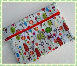 Whimsical Birds and Trees Zippered Case/Pouch/Handmade - $6.00