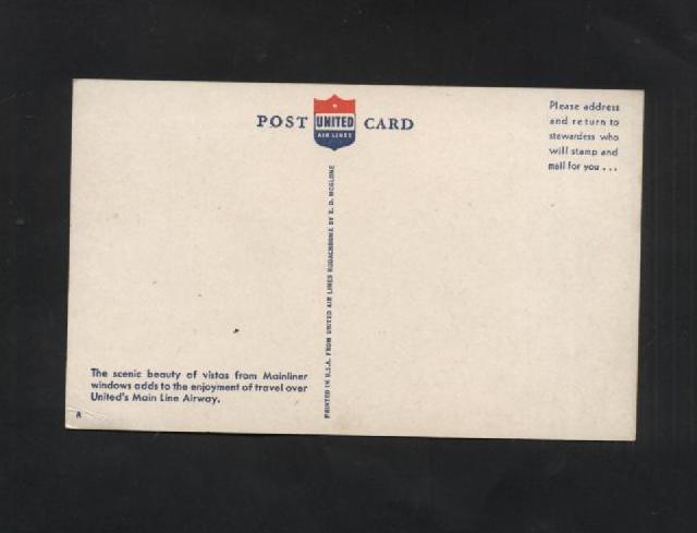 Vintage Postcard United Airline Plane Airplane Aerial Mainliner