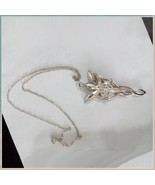 Evenstar Silver Crystal Pendant Necklace Earrings and Antiqued Metal Dis... - $24.95+
