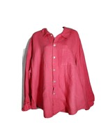 Flax Womens 1G XL 1X Top Blouse Linen Pink Boxy Lagenlook Button Jacket Tunic - $49.49