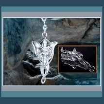 Evenstar Silver Crystal Pendant Necklace Earrings and Antiqued Metal Display Box image 3