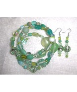 Electric Lime Glass and Ceramic Bead Handmade Gypsy Bracelet and Earring... - $8.00