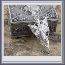 Evenstar Silver Crystal Pendant Necklace Earrings and Antiqued Metal Display Box image 6
