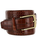 Joseph Gold Buckle Italian Leather Alligator Embossed Designer Dress Belt (Br... - $29.69