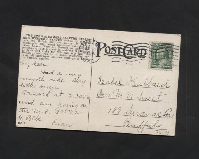 Vintage Postcard Western States Steamer  Ships Great Lakes 1910s Buffalo Detroit