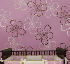 Stencils Flower Power 2pc LG, Reusable stencils better than wallpaper - $34.95