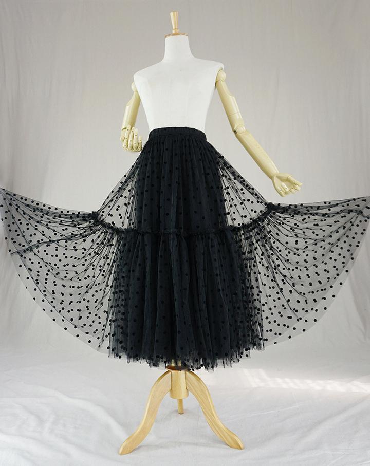 Black dot tulle skirt midi 2