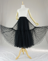Black Tulle Midi Skirt Women A-line Black Dot Midi Tulle Skirt Polka Dot Tutu  image 3