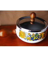 Vintage Retro 1970s Floral Enamel Sauce Pan Pot with Wooden Handle and L... - $34.99