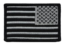 Black USA Flag Patch 2x3 - Silver Stitching - Reverse - $4.89