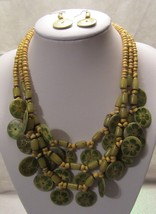 Three Strand Wooden Beaded In Lime and Yellow  - $19.99