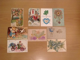 Lot of 9 Antique Assorted Holidays Postcard Collection all 1900's Heart