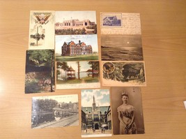 Lot of 11 Antique Postcards Different States Places, all from 1900's