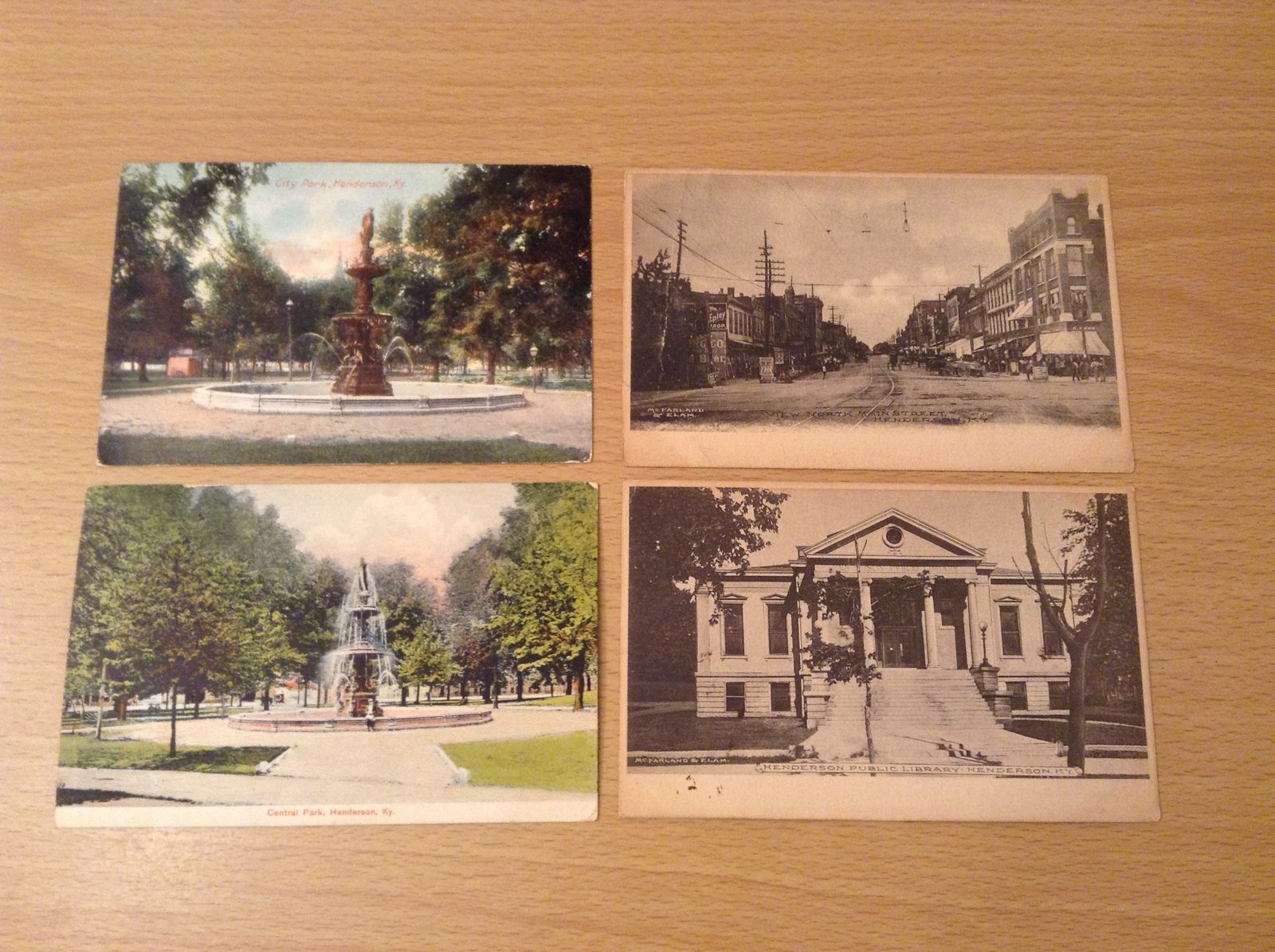 Lot of 4 Antique Postcards of Henderson, KY Different Places, all 1900's