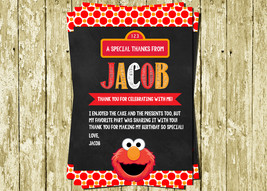 Elmo Digital Printable Chalkboard Birthday Thank You Cards Notes - $5.00