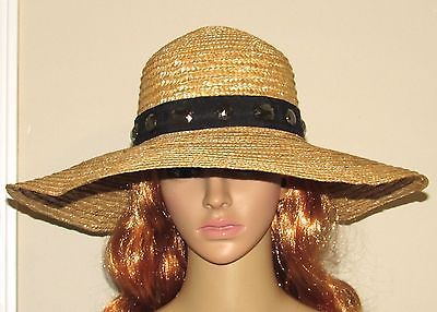 Magid Straw Hat With Stone Embellished Black Hatband