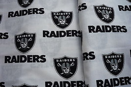 Oakland Raiders White Football Logo VTG Cottton Fabric 18 x 29  - $5.00