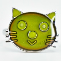 Kid's Fashion Silver Tone Cat Kitten Color Changing Fashion Adjustable Mood Ring