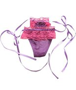 2pcs Purple Ruffle Lace-up Panties Hipster G-String Sheer Thong Lingerie... - $17.11