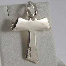 SOLID 18K WHITE GOLD CROSS, FRANCISCAN TAU TAO, SAINT FRANCIS, MADE IN ITALY image 2