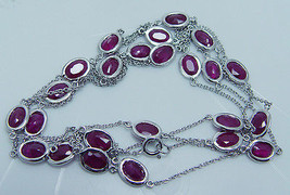"""Vintage 14K White Gold Genuine 14.40cts Oval Ruby by Yard Necklace 33"""" Long - $2,128.50"""