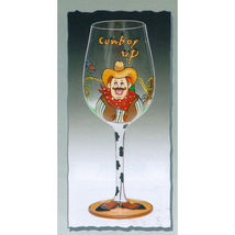 Cowboy Up Hand Painted Wine Glass - $19.95