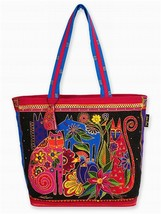 "NWT Laurel Burch Black Kindred Creatures Shopper Tote Dog Cat 20""x15"" SH... - $45.39"
