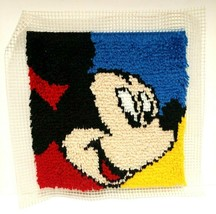 Latch Hook Completed Mickey Mouse Face Pillow Front - $14.01