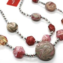 Necklace Antica Murrina Venezia CO875A05 Two Wires,Discs Polyester Stripe Red image 3