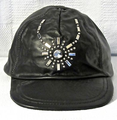 Hatquarters USA Genuine Black Leather Baseball Cap Embellished w/Studs & Stone