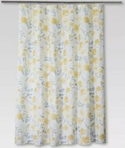 Threshold Floral Fabric Shower Curtain Yellow Blue White 100% Cotton Nwop - $11.69