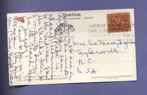 Vintage Postcard 1965 Christoforo Colombo Ocean Liner Ships Boats