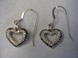 HEART EARRINGS WITH WHITE CUBIC ZIRCONIA AND BLACK ENAMEL IN STERLING SI... - $29.65