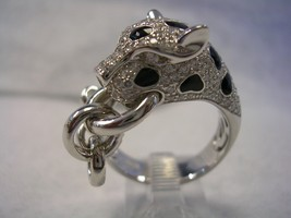 Leopard Ring With Black Enamel And White Cubic Zirconia Set In Sterling Silver  - $98.95
