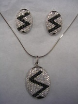 OVAL EARRING & PENDANT WITH WHITE & BLACK CUBIC ZIRCONIA STERLING SILVER... - $197.95