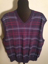 Austin Reed London Mens Large Navy Plaid Sweater Vest 100% Cotton EUC - $25.07
