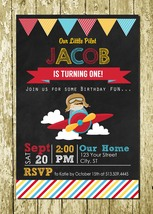 Little Pilot Aviator Personalized Digital Chalkboard Birthday Invitations - $10.00