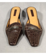 Unisa Loris 7.5 Reptile Brown Leather Slide On Mule Womens Shoes - $20.30