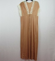 Vintage Brown Nylon Satin Robe w/lace trim Size M A15 by Bradley - $19.58