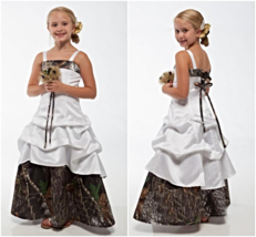 New Camo Flower Girl Dresses White And Camouflage - $152.00