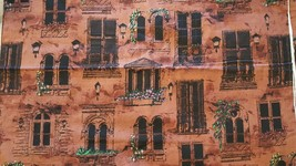 Fabric Material Romantic Italian Parisian Windows Floral Brown Home Decor - $21.78