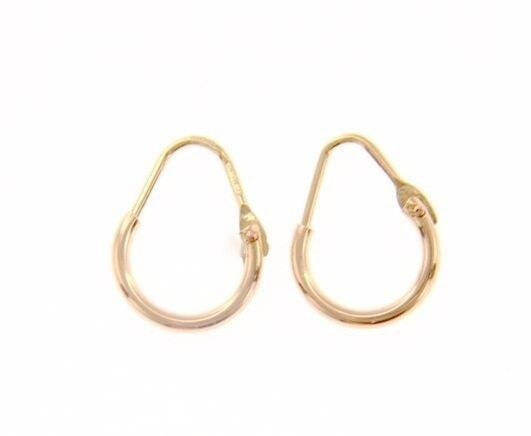 18K ROSE GOLD ROUND CIRCLE EARRINGS DIAMETER 8 MM WIDTH 1.7 MM, MADE IN ITALY