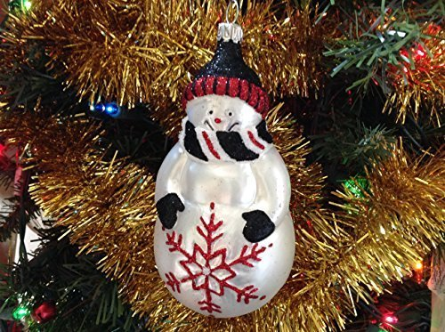 Snowman with Black and Red Scarf Hand Painted Glass Ornament [Kitchen]