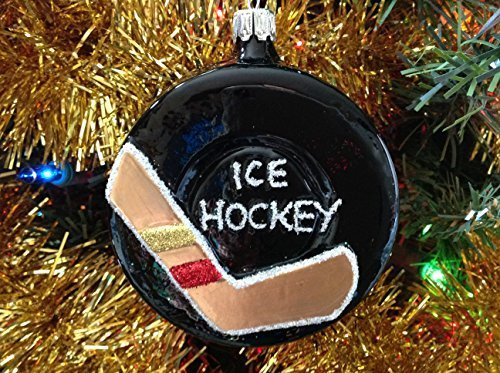Ice Hockey Puck Hand Painted Glass Ornament [Kitchen]